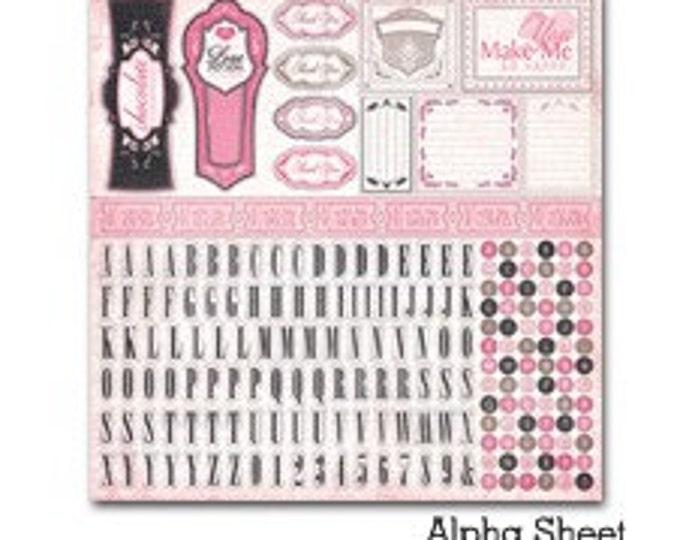 1 Carta Bella PARIS GIRL 12x12 Sheet of Alpha (Alphabet) Scrapbook Stickers