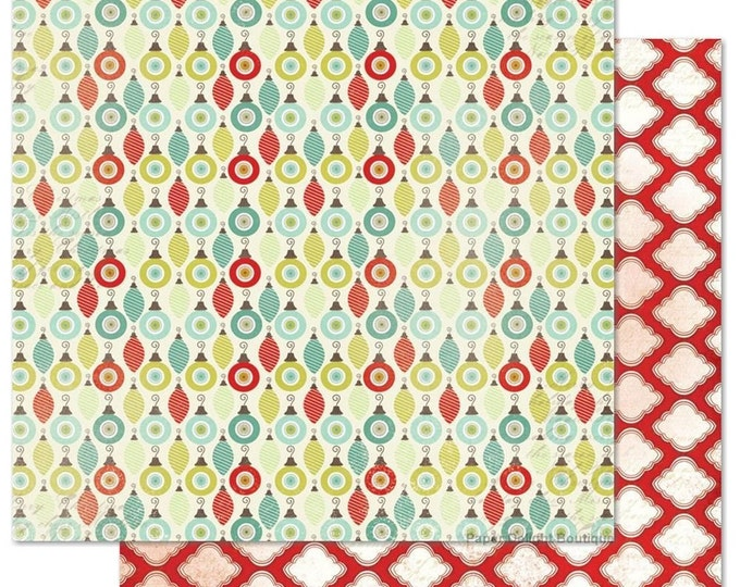 2 Sheets of My Mind's Eye MISTLETOE MAGIC 12x12 Christmas Scrapbook Paper - Ornaments