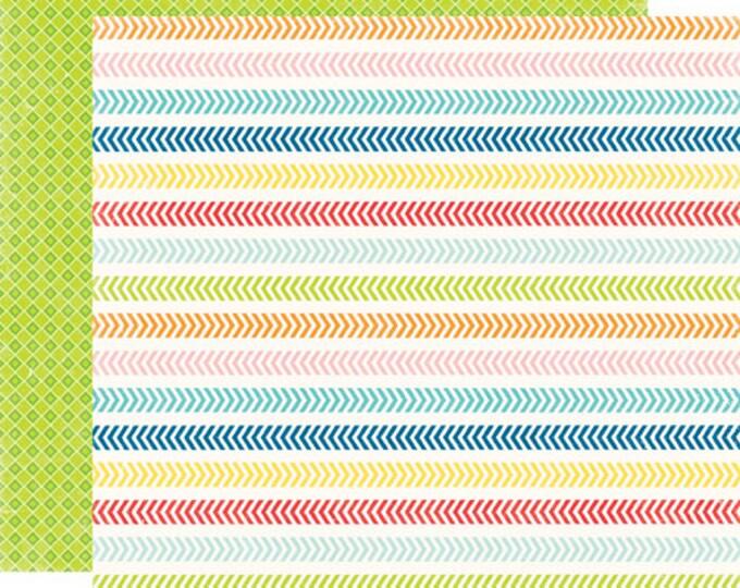 2 Sheets of Echo Park Paper A PERFECT SUMMER 12x12 Scrapbook Paper - Chevron Lines