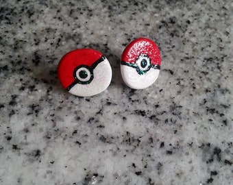 Large Pokeball Stud Earrings flat
