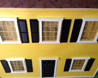 Already Assembled Vintage Handmade 1920's Colonial Style Dollhouse with Curtains, Clock and Shelving Unit