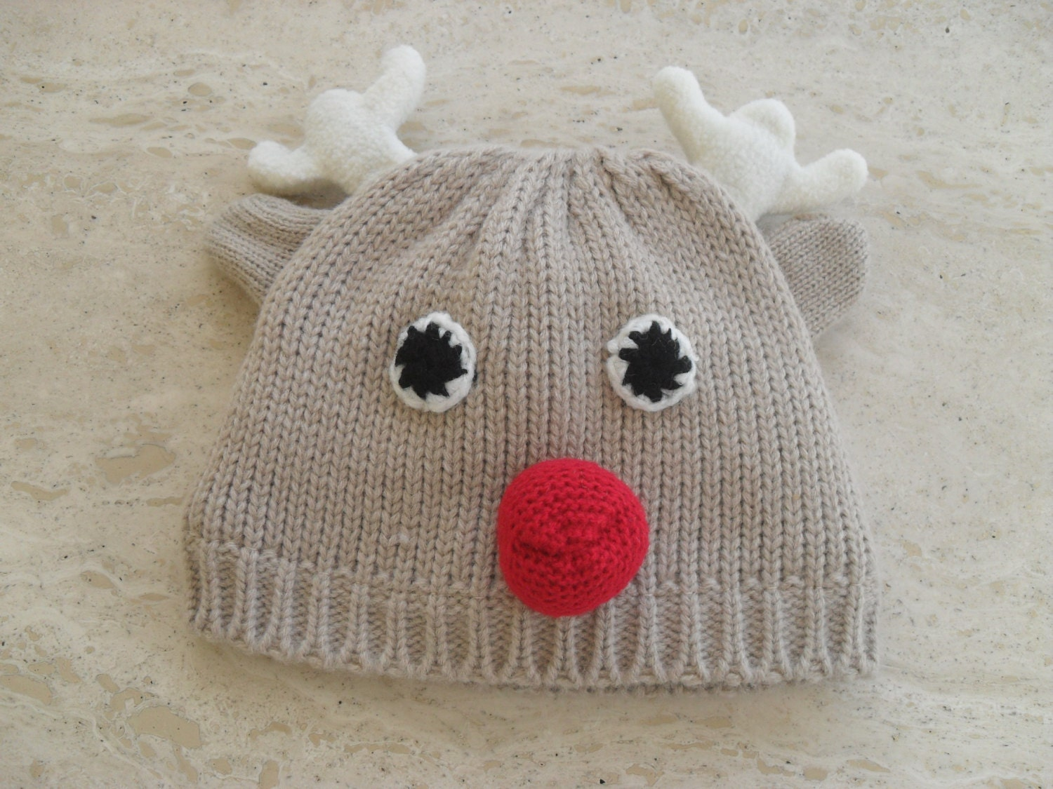 Machine Knitted Baby Rudolph Reindeer Hat/Baby Christmas Hat
