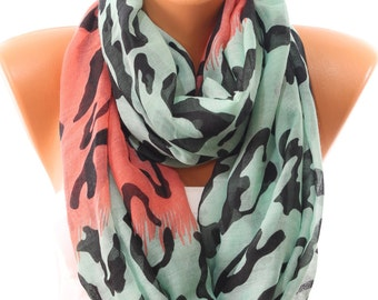 Animal Print Coral Mint Scarf So Soft Lightweight Spring Summer Scarf Infinity Scarf Women's Fashion Accessories Scarves Gift Ideas For Her