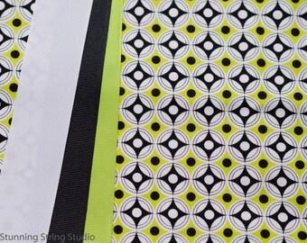 Black and Lime Bullseye - Plum Creek Knitting Project Bag - Choice of Size (1066)