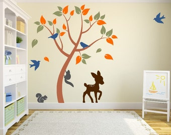 Kid's Play Room Wall Decal with Tree, Deer, Birds, and Squirrels