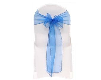 Royal Blue Organza Chair Sashes (Pack of 10) | Wedding Chair Sashes