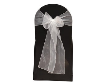 White Organza Chair Sashes (Pack of 10) | Wedding Chair Sashes