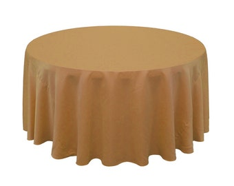 120 Inch Round Lamour Tablecloth Gold | Wedding Tablecloths