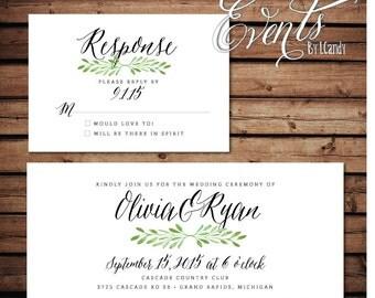 PRINTED Wedding invitation & rsvp with green leaf laurel