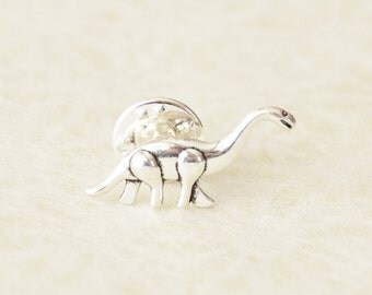 Dinosaur Pin - Brontasaurus Tie Clip - Apatosaurus Gifts for Men - Geeky Mens Tie Pin Tack - Tie Clips Men - Tie Tack Pin