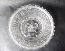 Queen Victoria 1887 Jubilee Plate / Antique Pressed Glass Plate / English British Royalty Souvenir / 1887 Golden Jubilee Royal UK