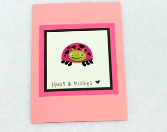 Hugs & Kisses Valentine's Day Ladybug Card with envelope