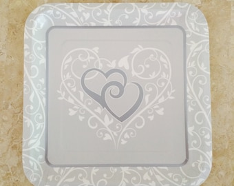 """Wedding Bliss Square Paper Plate 9.1"""" (24 Plates) Perfect for Weddings, Bridal Showers Plates  Silver Anniversary & Engagement Paper Plates"""