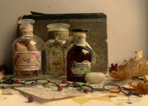 Halloween haunted apothecary | Scented Macabre bottles set | one of the kind