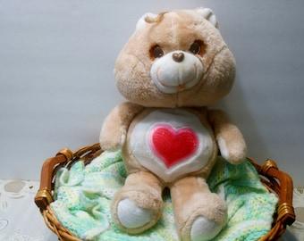 "Care Bear Tenderheart Bear 16"" Kenner American Greetings 1983 Made in Haiti patent pending"