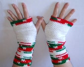 Ladies' Red White Green Christmas Crochet Fingerless Gloves Armwarmers