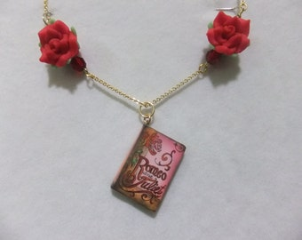 Romeo and Juliet Roses Book Necklace - Great Gift for Book Lovers!
