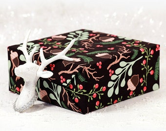 Woodland Christmas Gift Wrap Roll |  Christmas Custom Gift Wrap With Woodland Sprigs And Acorns In Two Sizes.