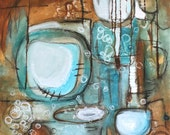 blue brown abstract painting circles geometric Leah Fitts ocean turquoise aqua bubbles sea shore squares
