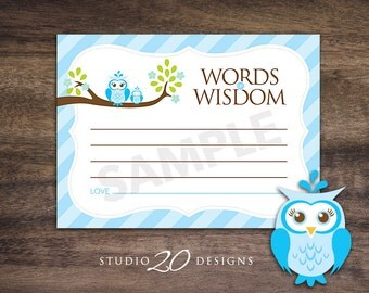 Instant Download Blue Owl Advice Cards, Blue Owl Baby Shower Games, Blue Brown Lime Words of Wisdom, Printable Advice Cards #23F