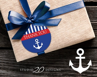 Instant Download Nautical Thank You Tags, Printable Blue Red Anchor Gift Tags, Sailor Baby Shower Thank You Tags, Nautical Favor Tags 26A