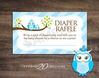 Instant Download Blue Owl Diaper Raffle Cards, Blue Brown Owl Baby Shower Diaper Raffle for Boy, Blue Diaper Raffle Prize Drawing 23F