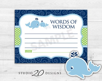 Instant Download Whale Advice Cards, Printable Whale Words of Wisdom, Blue Green Whale Baby Shower Games, Nautical Advice for Mom To Be 20B