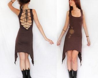 Mizuki summer dress. Lace open back dress. Pixie dress. romantic dress, Bohemian dress, Lace dress, goddess dress. Earthy dress