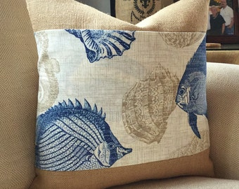 Fish sealife burlap coastal pillow cover 18x18