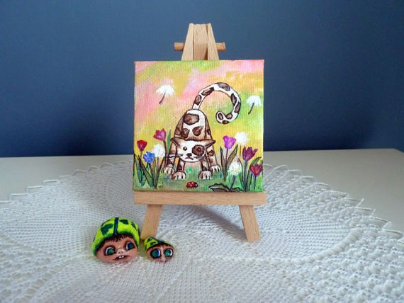 Whimsical kitten comes with Easel, Colorful mini art, Hand painted Cat, Dandelion, Original art, Gift for Cat lover,