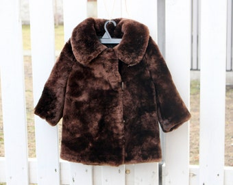 Vintage Kids Fur Coat for 2-4 yrs, Brown Mouton Fur Coat, Sheared Lamb Sheep Coat, Russian Coat, Retro Children Clothing, USSR era 1980s