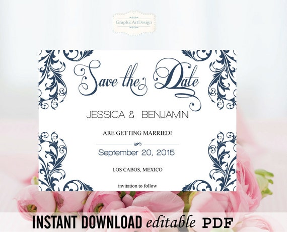 Wedding Save The Date Editable Pdf Templates By