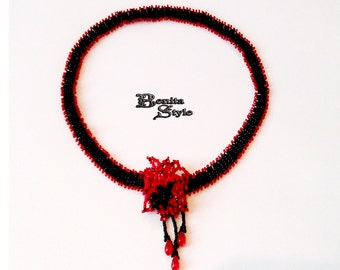 Beadwork Necklace, Bead Necklace, Beaded Necklace Black and Red Necklace LITTLE MINX, Beadweaving Necklace