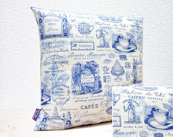 """Handmade 16""""x16"""" Cotton Cushion Pillow Cover in China Blue/White Parisian Tea Design Fabric Print"""