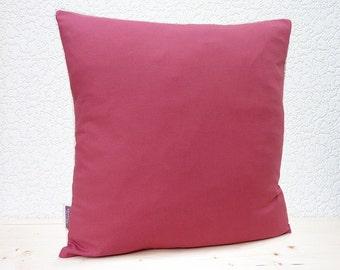 "Handmade 16""x16"" Cotton Home Decor Cushion Accent Pillow Cover in Plain Deep Rose"