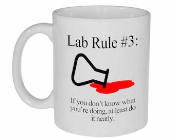 Lab Rule 3 Funny Science Chemistry ceramic coffee or tea mug