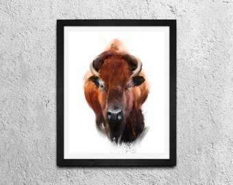 Bison / Original Illustration Art Print - Wall Decor - Poster [18x24 or 11x14]