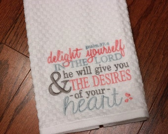 Embroidered Kitchen Towel - Christian Kitchen Towel