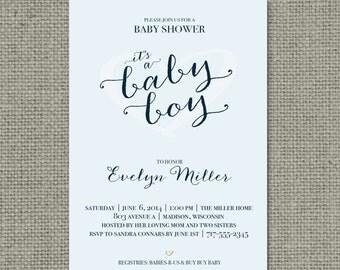 "Printable Blue Baby Shower Invitation Card | ""It's a Baby Boy"" Heart Design | Customize | DIY - No. BBS1-1"
