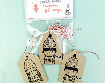 Boy and Girl Christmas Gift Present labels Tags with bakers twine