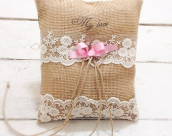 Burlap wedding ring bearer pillow, rustic, ring bearer cushion with quote,wedding pillow, ring bearer cushion, page boy pillow, cushion