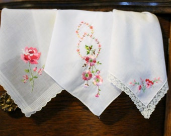 Perfectly Pink Posh and Pretty Vintage Embroidered Handkerchiefs Set of 3
