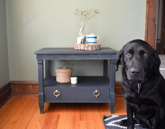 Navy Blue Bedside Table: Items Similar To SOLD//Painted, Milk Paint, Navy, Blue