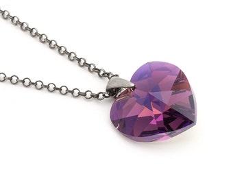 Purple Heart Swarovski Necklace, Swarovski Amethyst Necklace, Sterling Silver Pendant, Heart Jewelry, Sterling Silver Jewelry