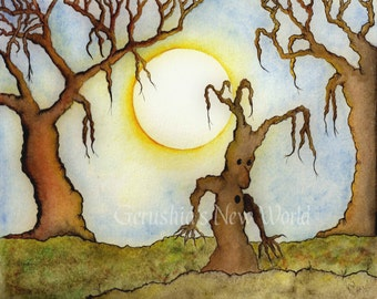 The Escape - Salted Watercolor, Print, Trees, Whimsical