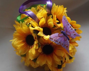 A pair of artificial sunflower pomanders, kissing balls, for decoration or flower girls - Back in stock!