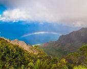 Hawaii Photography - Hawaiian Rainbow Photo Print of Pacific Ocean -  Tropical Art Photograph of Kauai Mountains, Ocean, Beach, Rainbow