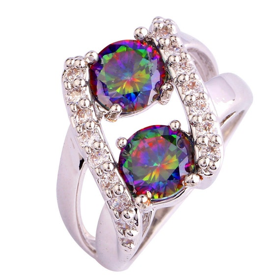 genuine gemstone rings rainbow mystic topaz and white