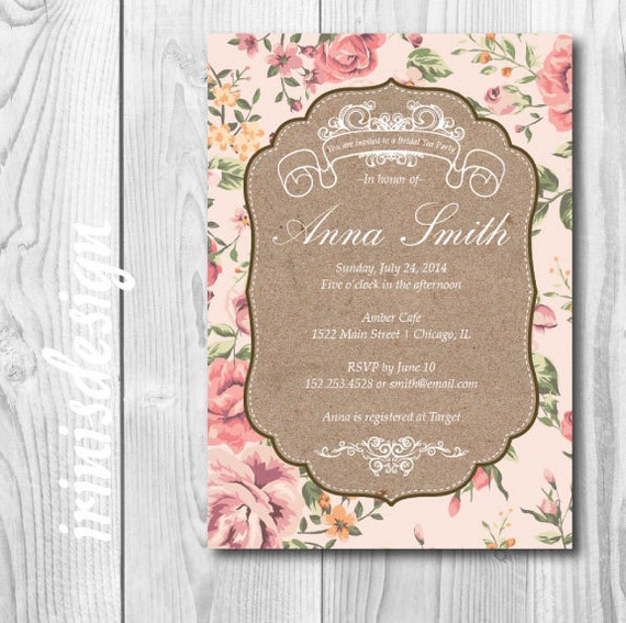 Shabby Chic Wedding Invitation Templates - Bridal tea party invitation template