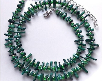 Green branch coral necklace, , Blue green coral and Rainbow glass beads.